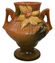 Roseville Pottery Clematis Brown Vase 188-6 - Just Art Pottery