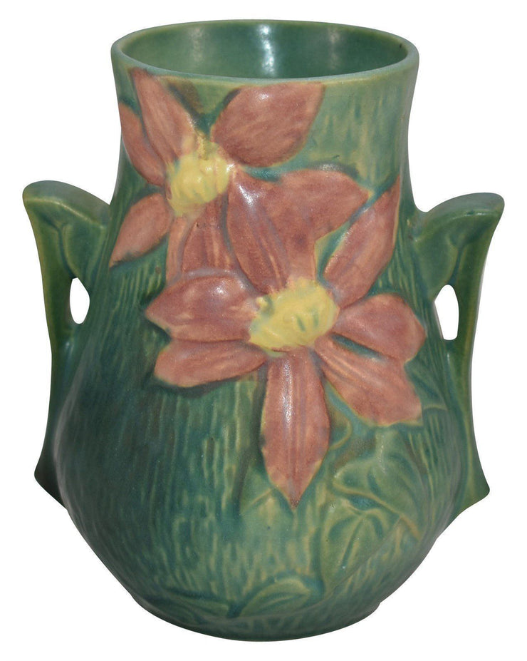 Roseville Pottery Clematis Green Ceramic Vase 103-6 - Just Art Pottery