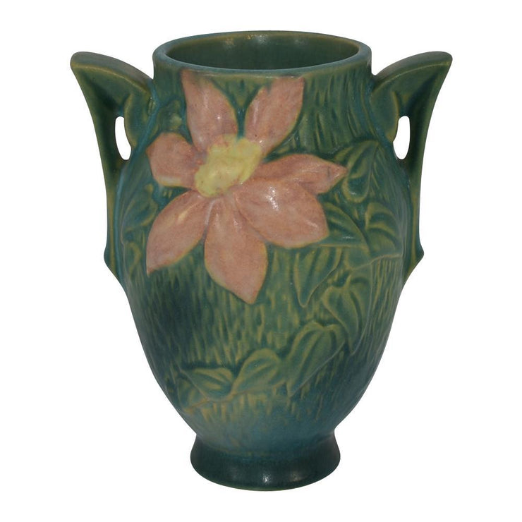 Roseville Pottery Clematis Green Vase 102-6 - Just Art Pottery