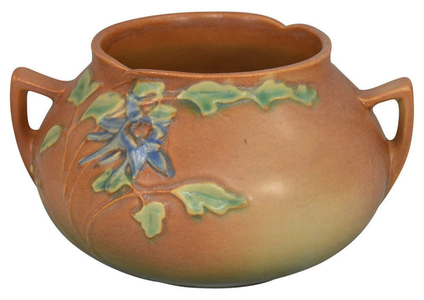Roseville Pottery Columbine Brown Bowl 399-4 - Just Art Pottery