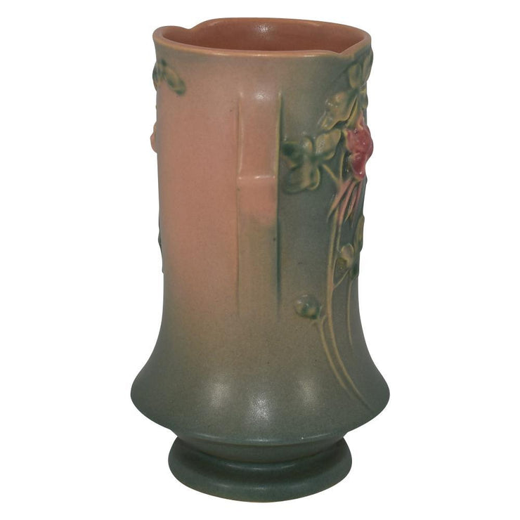 Roseville Pottery Columbine Green And Pink Trial Glaze Vase 20-8 - Just Art Pottery