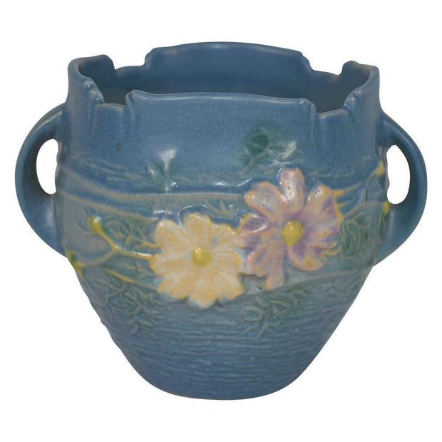 Roseville Pottery Cosmos Blue Jardiniere 649-3 - Just Art Pottery