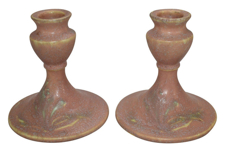 Roseville Pottery Cremona Pink Ceramic Candle Holders 1068-4 - Just Art Pottery