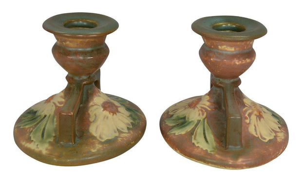 Roseville Pottery Dahlrose Candle Holders 1069-3 - Just Art Pottery
