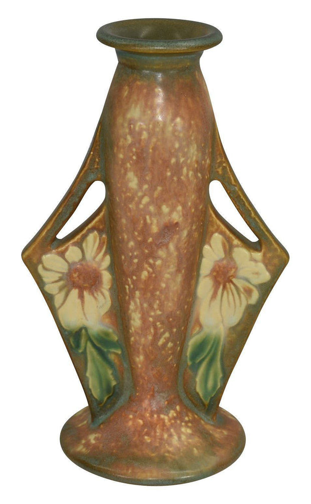 Roseville Pottery Dahlrose Handled Vase 78-8 - Just Art Pottery