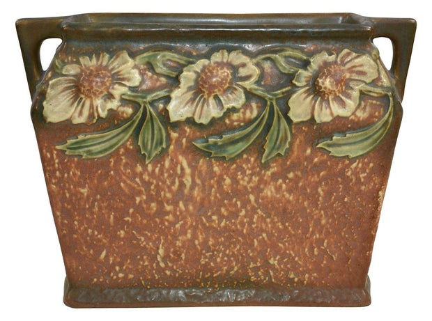Roseville Pottery Dahlrose Pillow Vase 358-8 - Just Art Pottery