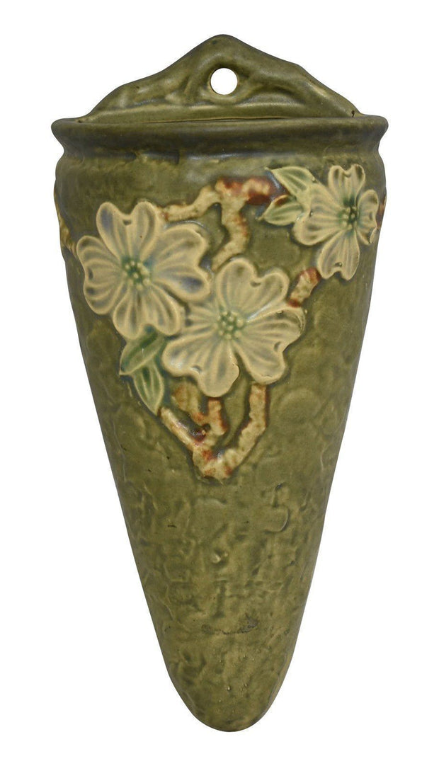 Roseville Pottery Dogwood Textured Wall Pocket 1245-9 - Just Art Pottery