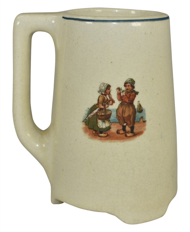Roseville Pottery Dutch Creamware Boy And Girl With A Cat Mug - Just Art Pottery