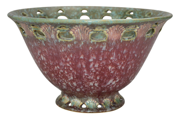 Roseville Pottery Ferella Dark Rose Bowl 211-8 - Just Art Pottery
