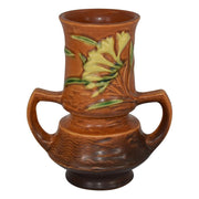 Roseville Pottery Freesia Brown Handled Vase 118-6 from Just Art Pottery