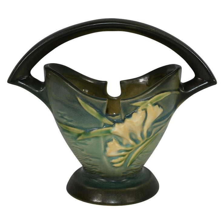 Roseville Pottery Freesia Green Basket 390-7 from Just Art Pottery
