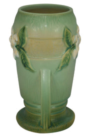 Roseville Pottery Gardenia Green Art Deco Vase 683-8 - Just Art Pottery