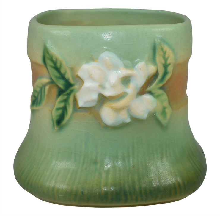 Roseville Pottery Gardenia Green Ceramic Vase 656-3 - Just Art Pottery
