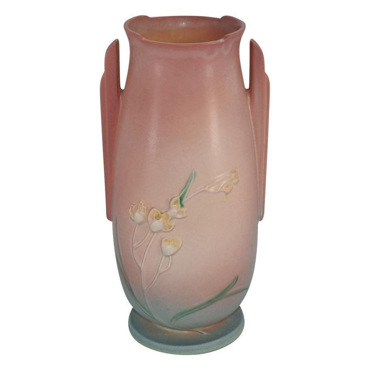 Roseville Pottery Ixia Pink Art Deco Vase 864-12 from Just Art Pottery