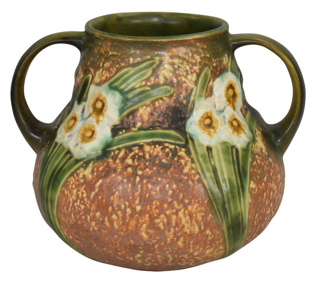 Roseville Pottery Jonquil Handed Vase 543-6 - Just Art Pottery