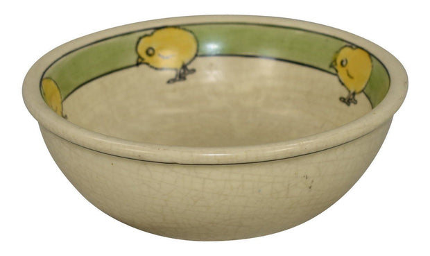Roseville Pottery Juvenile Creamware Five Chick Bowl - Just Art Pottery