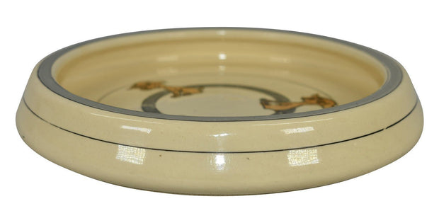 Roseville Pottery Juvenile Creamware Three Dogs Rolled Edge Plate - Just Art Pottery