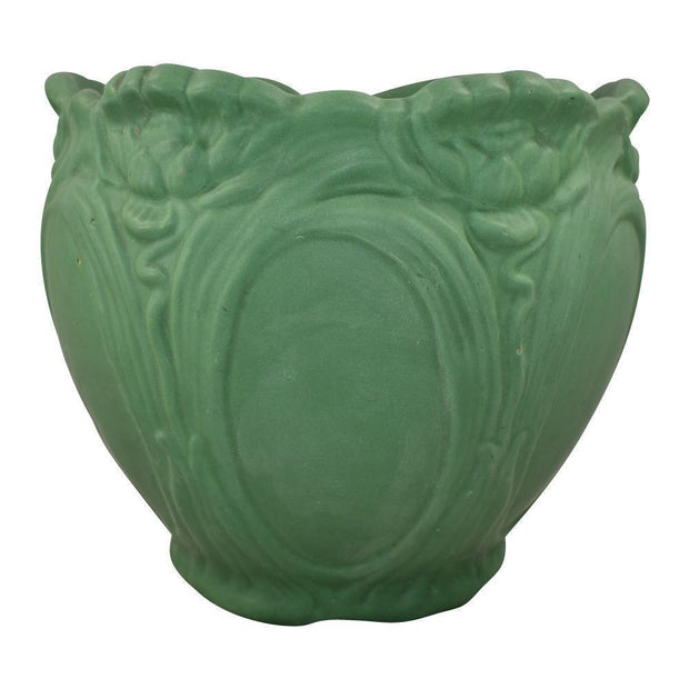Roseville Pottery Matte Green Water Lily Jardiniere - Just Art Pottery