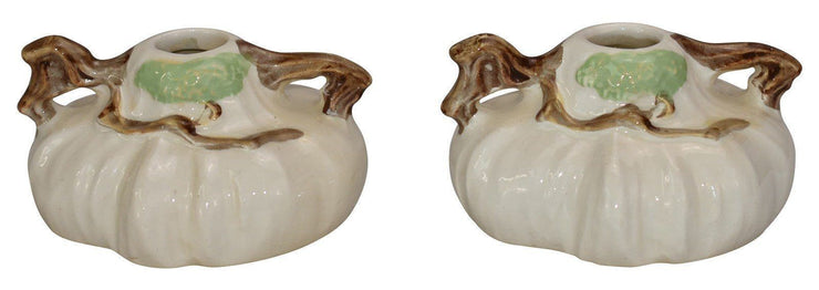Roseville Pottery Ming Tree White Candle Holders 551 - Just Art Pottery