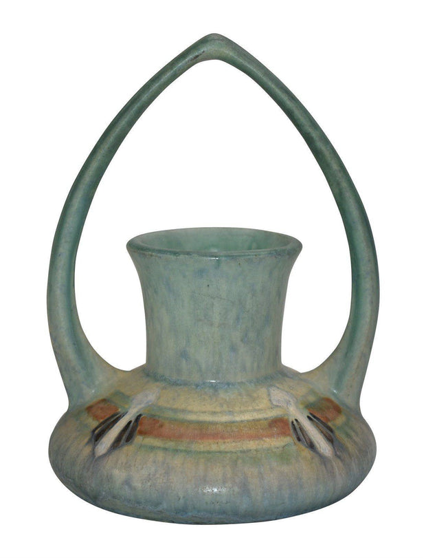 Roseville Pottery Montacello Green Basket 332-6 - Just Art Pottery