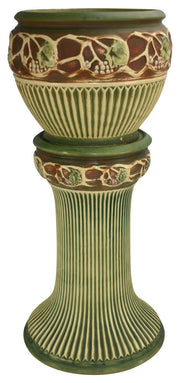 Roseville Pottery Normandy Ceramic Jardiniere And Pedestal 609-10 - Just Art Pottery