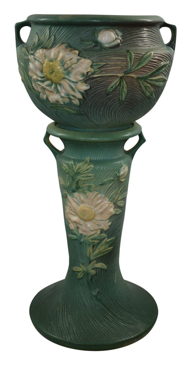 Roseville Pottery Peony Green Jardiniere and Pedestal 661-8 - Just Art Pottery