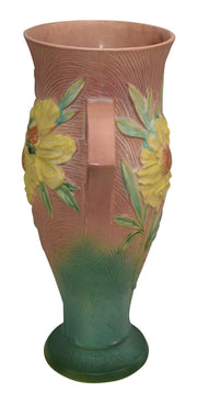 Roseville Pottery Peony Pink Ceramic Floor Vase 70-18 - Just Art Pottery