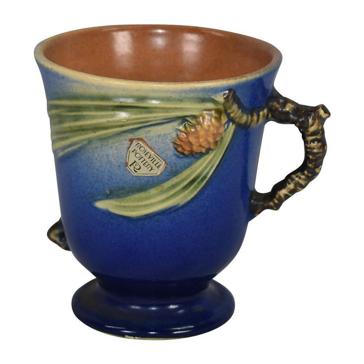 Roseville Pottery Pine Cone Blue Mug 960-4 from Just Art Pottery