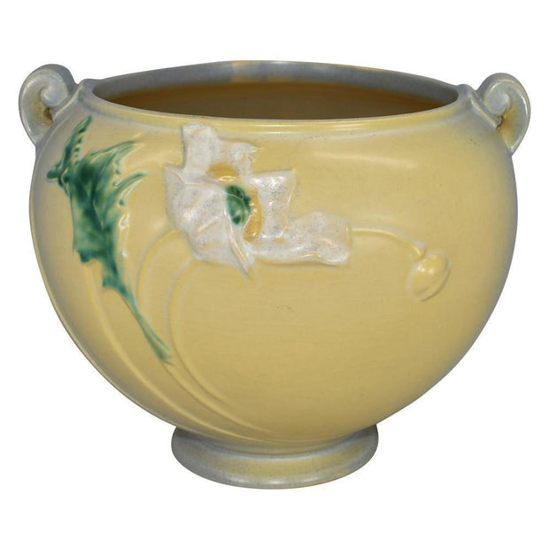 Roseville Pottery Poppy Gray And Yellow Jardiniere 642-7 - Just Art Pottery