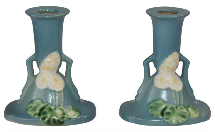 Roseville Pottery Primrose Blue Candle Holders 1105-4 - Just Art Pottery