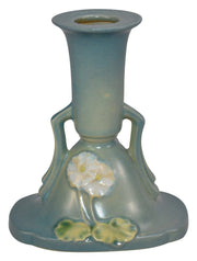 Roseville Pottery Primrose Blue Ceramic Candle Holder 1105-4 from Just Art Pottery