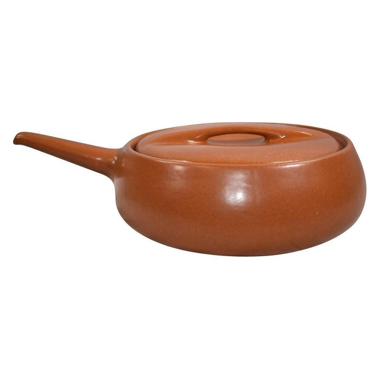 Roseville Pottery Raymor Mid Century Orange Four Quart Handled Casserole 196 from Just Art Pottery