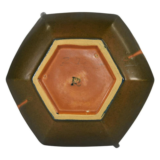 Roseville Pottery Rosecraft Hexagon Brown Bowl 137-6 from Just Art Pottery