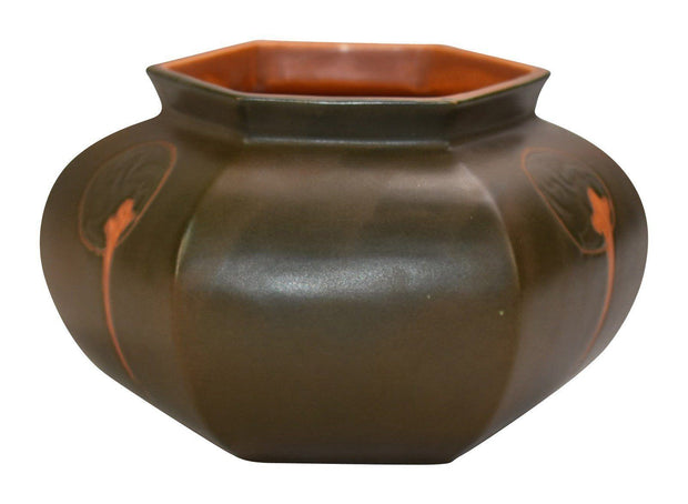Roseville Pottery Rosecraft Hexagon Brown Bowl 138-4 from Just Art Pottery