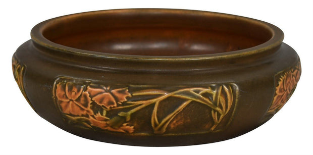 Roseville Pottery Rosecraft Panel Brown Bowl - Just Art Pottery