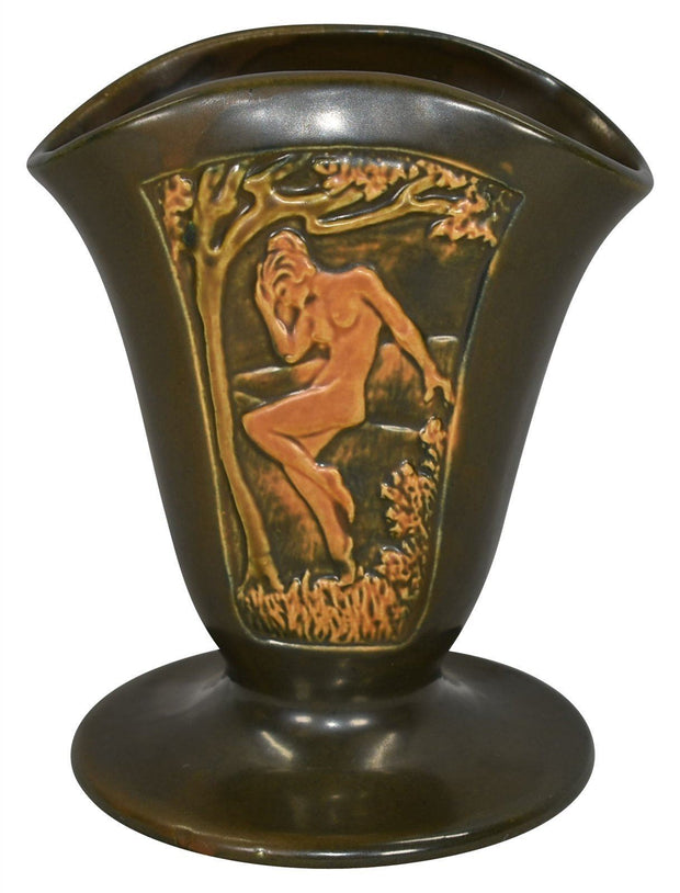 Roseville Pottery Rosecraft Panel Brown Nude Fan Vase - Just Art Pottery