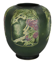 Roseville Pottery Rosecraft Panel Green Vase 293-8 - Just Art Pottery