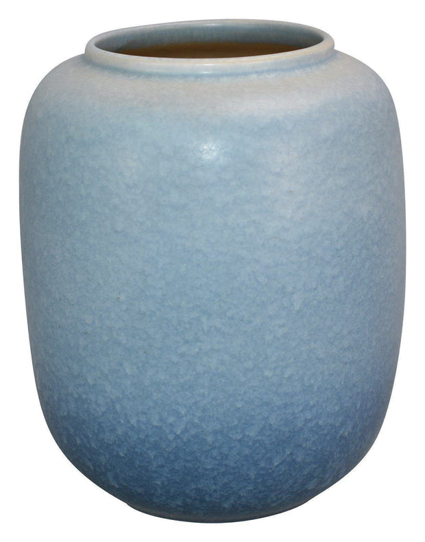 Roseville Pottery Rozane Patterns Mottled Matte Blue Vase 4-8 from Just Art Pottery