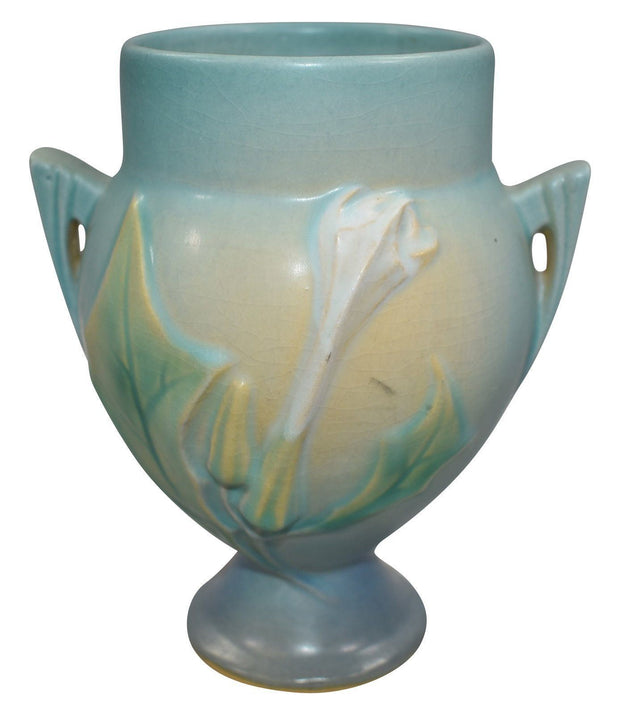 Roseville Pottery Thornappe Blue Vase 811-6 - Just Art Pottery