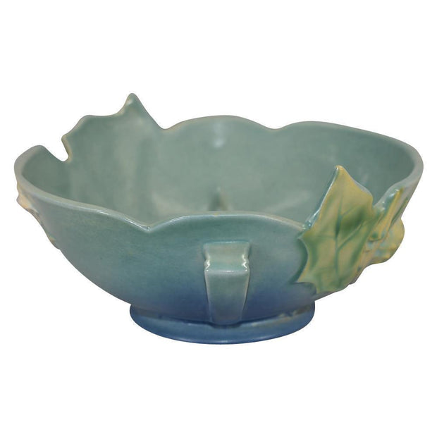 Roseville Pottery Thornapple Blue Console Bowl 309-8 - Just Art Pottery