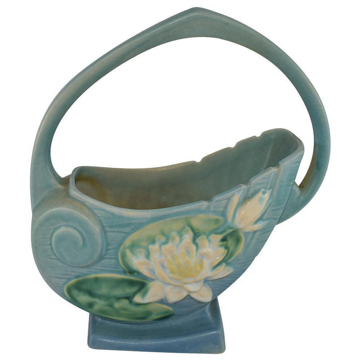 Roseville Pottery Water Lily Blue Basket 381-10 from Just Art Pottery