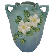 Roseville Pottery White Rose Blue Vase 991-12 - Just Art Pottery