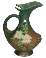 Roseville Pottery White Rose Brown And Green Ewer 981-6 - Just Art Pottery