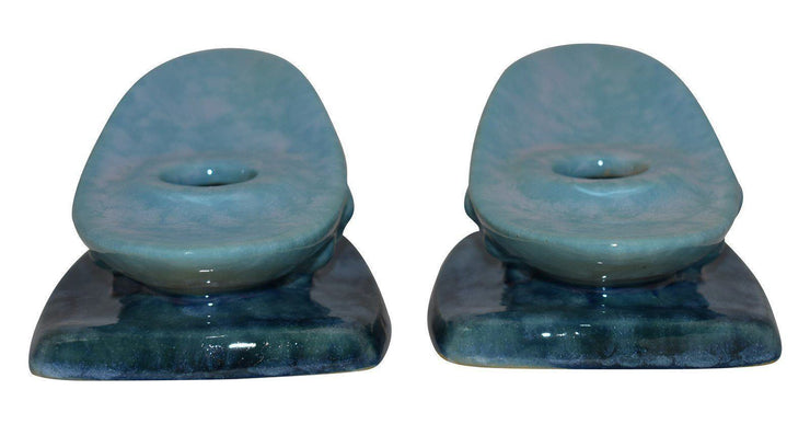 Roseville Pottery Wincraft Blue Art Deco Candle Holders 252 - Just Art Pottery