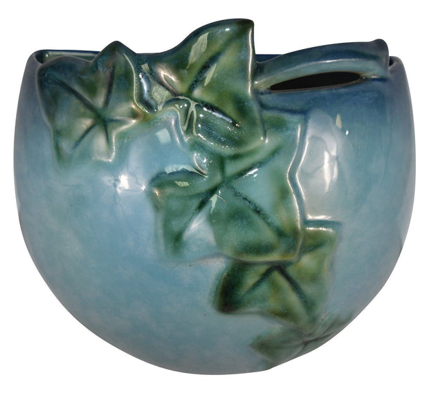 Roseville Pottery Wincraft Blue Ceramic Wall Pocket 267-5 - Just Art Pottery