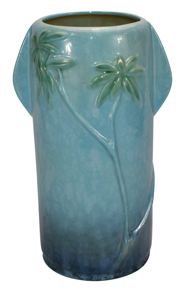 Roseville Pottery Wincraft Panther Blue Ceramic Vase 290-11 from Just Art Pottery