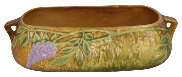 Roseville Pottery Wisteria Tan Console Bowl 243-5 - Just Art Pottery
