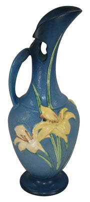 Roseville Pottery Zephyr Lily Blue Ewer 24-15 - Just Art Pottery