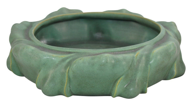 Teco Pottery Matte Green Charcoaled Large Buttressed Bowl Shape 309 - Just Art Pottery