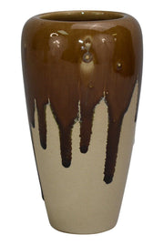 University Of North Dakota Pottery Brown Glaze Drip Deco Vase - Just Art Pottery